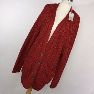New Anthropologie Moth XL Cardigan Red Oversized